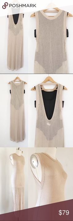 RILLER FOUNT Mesh Jersey Maxi Dress Coverup RILLER and FOUNT Mesh Maxi Dress  Retail Price: $180  NWOT  Size 1 / S (fits a M too)  Color: Beige / Tan  L57, B32, H34 (fabric stretches)    RILLER and FOUNT Soft Mesh maxi dress is the perfect swim coverup and can go from day to night with a tank dress underneath. Sleek and modern design with a high neck in the front and low back with strap.    Riller and Fount label created by the art director of J Brand, beautiful drape and construction…
