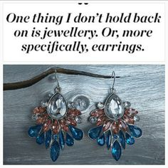 """Colorful earrings NWOT Add some color to your favorite outfit with these smashing earrings!! Featuring complimentary color combo of blue, light pink and clear rhinestones on a silver tone metal.  Brand new Silver tone metal Hook style  Approx2.5"""" Hypo Allergenic Jewelry Earrings"""