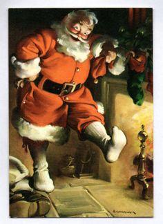 Vtg Unused 1970s Santa Claus Art Print Haddon Sundblom Hallmark Christmas Card | eBay