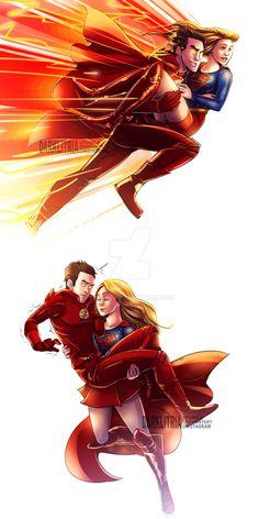 Fly + Run by DarkLitria dc comics crossover cw shows flash supergirl barry allen kara danvers zor-el