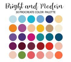 Bright and Modern Procreate Color Palette iPad Color   Etsy Purple Color Palettes, Fall Color Palette, Yarn Color Combinations, Color Schemes, Rainbow Clipart, Gold Foil Paper, Cool Nail Art, Etsy App, Yarn Colors