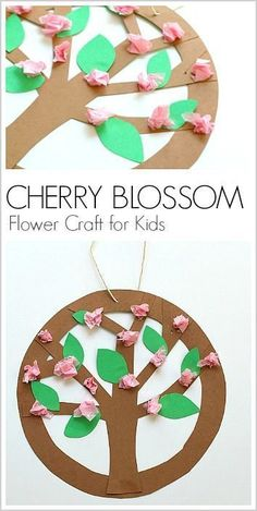 cherry blossom circle spring tree craft - acraftylife.com #crafts #kidscraft #craftsforkids