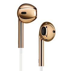 Apple earphones in gold