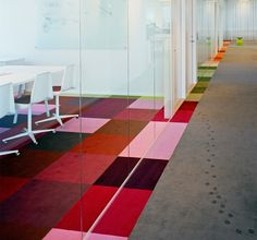 Not rainbow tiling but like the idea of dividing conference room vs office floor...