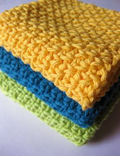 Must have my mom show me how to crochet! Crochet dish cloths or face cloths in green, yellow and teal cotton.