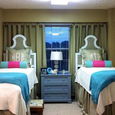 Run a tension rod across the back wall to add a splash of color in your Martin standard double room!