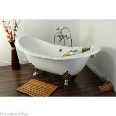 Beautiful double slipper Clawfoot tub faucet package deal!