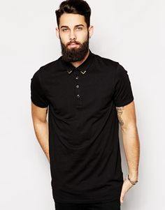 ASOS Longline Smart Polo Shirt With Metal Collar Tips
