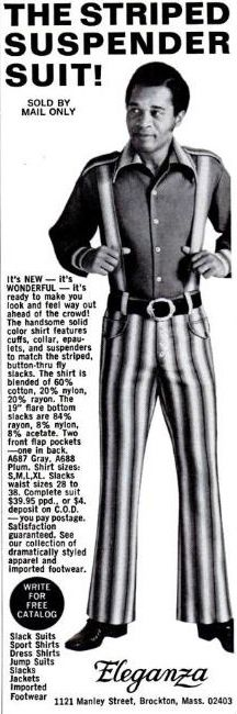 """The striped suspender suit, sold by mail only!"" by Eleganza, c. 1970s."