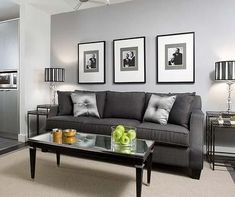 Colin and Justin: A little Hollywood-style glamour. Light grey walls ... & Chic grey living room with clean lines | Pinterest | Grey living ...