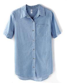 Simple Style Pockets Denim Blouse