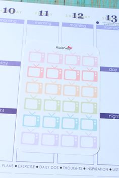 Pastel Colored TV Stickers 24 count for your Erin Condren Life Planner or Plum Paper Planner by PlanItPretty on Etsy