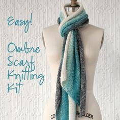 Manos Gradiente Scarf Knitting Kit- Pretty Ombre Scarf and easy to knit! Kit on www.nobleknits.com.