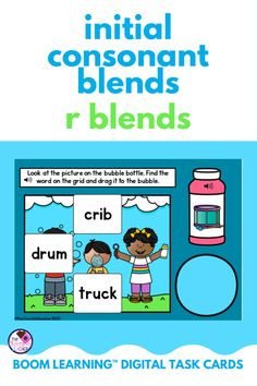 Are you teaching initial consonant blends and are looking for an engaging activity to use? This BOOM Learning digital task card set practices beginning R Blends. This set has 3 different activities that are worksheet free and perfect for kindergarten, first grade, or second grade students! These cards are SELF-CORRECTING, which saves teachers time. Teachers can view reports of their students' progress. Use these for ELA centers, homework, or distance learning! {1st grade, 2nd grade} Sounding Out Words, Blending Sounds, First Grade Phonics, Consonant Blends, Teaching Phonics, Task Cards, Second Grade, Homework, Distance