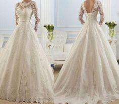 Floor-Length Wedding Dresses, White Wedding Dresses, Long Sleeve Wedding Dresses,Applique Wedding Dresses, Backless Wedding Dresses, Lace Wedding Dresses, Custom Dresses