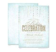 Glitter Look Birthday Party Invitations  DIY by TheSpottedOlive, $17.95