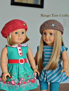 "Mango Tree Crafts: Crochet Beret Hat Pattern for 18"" American Girl Doll"