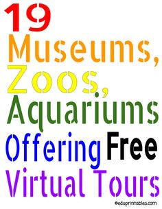 These 19 museums, zoos and aquariums are offering free virtual tours. We hope your kids can enjoy th. Virtual Museum Tours, Virtual Tour, Virtual Art, Home Learning, Learning Activities, Virtual Field Trips, Virtual Travel, Educational Websites, Educational Leadership