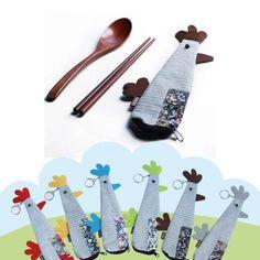 日式原木筷子勺子便携餐具套装喔喔鸡卡通和风碎花棉麻布袋拉链包-淘宝网