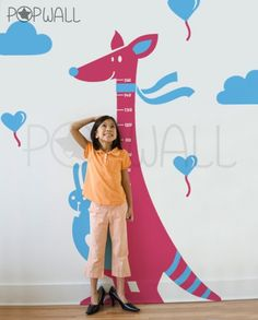 Children Wall Decals - Kangaroo with rabbit - Growth Charts Kids Wall decal. $89.00, via Etsy.