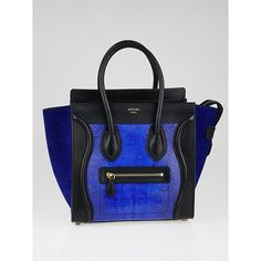 Pre-owned Celine Indigo Lizard and Leather Micro Luggage Tote Bag ($2,395) ❤ liked on Polyvore featuring bags, handbags, tote bags, leather tote handbags, celine tote bag, leather handbag tote, tote handbags and leather tote - bag hand, matching handbag and purse set, fashion hand bag *ad