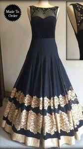 Buy New Black Georgette And Net Gown by undefined, on Paytm, Price: Pakistani Wedding Dresses, Pakistani Outfits, Indian Outfits, Indian Gowns, Indian Attire, Indian Wear, Designer Anarkali, Indowestern Gowns, Punjabi Dress