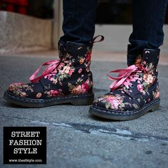 Floral Print Doc Martens Boots - San Francisco