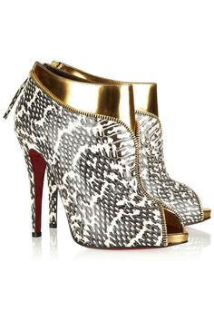 Christian Louboutin Col Zippe 120 Leather and Water Snake Ankle Boots, $1,395; netaporter.com