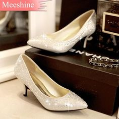 New Arrival women's shoes 2014 autumn crystal wedding shoes Crystal wine glass with sparkling crystal high heels pumps singles s