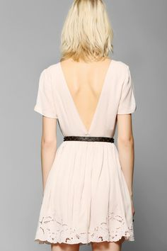 $79.00 Pins And Needles Embroidered V-Back Dress | Urban Outfitters