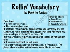 FREE Rollin Vocabulary Game from Back to Basics on TeachersNotebook.com -  (3 pages)  - Rollin' Vocabulary is a vocabulary game that has students using words, pictures and actions to define words. My reading groups have enjoyed playing this game to reinforce vocabulary words.
