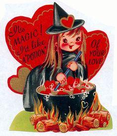 { Vintage Valentine Card / Heart / Retro Valentines / St Valentines Day / Love / Crush / offbeat / fun / unusual / Creepy Scary Strange Weird Valentine }