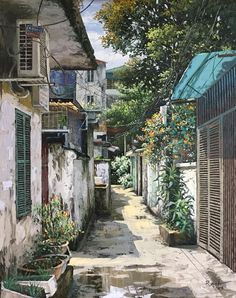 [Illustrations] A Halcyon Hanoi Through Artist Pham Anh's Ultra-Realistic Oil Paintings - Saigoneer Realistic Oil Painting, Anime Scenery, Urban Sketching, Hanoi, Aesthetic Art, Urban Landscape, Art Pictures, Watercolor Art, Landscape Photography