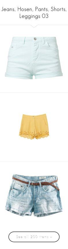"""Jeans, Hosen, Pants, Shorts, Leggings 03"" by kristinaeduardovna ❤ liked on Polyvore featuring shorts, bottoms, denim shorts, mint, pocket shorts, denim short shorts, mint jean shorts, tall shorts, pants and yellow"