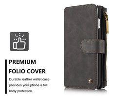 CaseMe 007 iPhone 7 Plus Retro Flannelette Leather Detachable 2 in 1 Wallet Case Black