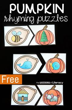 Printable Pumpkin Rhyming Puzzles for Fall Literacy Centers These pumpkin rhyming puzzles are a fun and simple to prep literacy center for Pre-K and Kindergarten students to work on rhymes! Rhyming Kindergarten, Rhyming Activities, Kindergarten Centers, Preschool Literacy, Phonics Centers, Abc Centers, Writing Centers, Kindergarten Language Arts, Work Activities