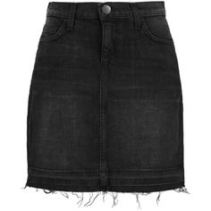 Current/Elliott The Skinny stretch-denim mini skirt ($75) ❤ liked on Polyvore featuring skirts, mini skirts, black, black miniskirt, current elliott skirt, current/elliott, short black mini skirt and stretch denim skirt