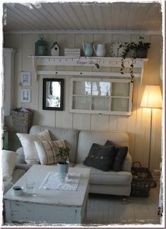 What a beautiful home - the details are amazing! Armoire Shabby Chic, Cottage Shabby Chic, Cottage Style, Shed Interior, Interior Design, Summer House Interiors, Wall Groupings, Piece A Vivre, Cottage Living