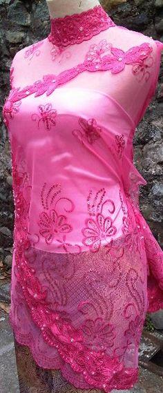 Right view Material Kebaya Bordir Pink Sequien