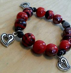Heart Charm Bracelet Red Bead Bracelet by Happynightowls on Etsy