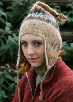 Adult Brushed Knit Alpaca Chullo with Ear Flaps are great for staying warm and looking cool. Great on the slopes, a perfect ski hat or snowboarding hat.