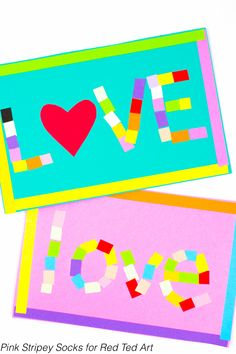 """Mosaic """"Love"""" Art Activity- Create beautiful Paper mosaics this Valentine's Day with the kids!"""