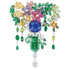 "A multi-gem brooch from the""Dior a Versailles"" collection designed by Victoire De Castellane for Dior jewellery. Trendy Fashion Jewelry, Fashion Jewelry Necklaces, Modern Jewelry, Jewelry Tattoo, Gold Necklaces, Saphir Rose, Dior Jewelry, Jewelry For Her, Crystals"