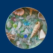 Beach glass and shells plate