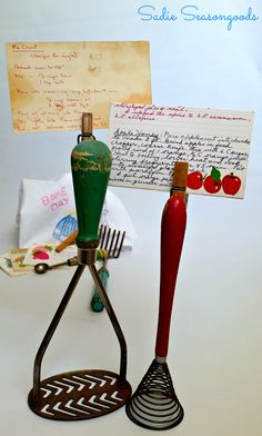 Don't you just love vintage cooking gadgets? And when you attached an old clothespin to one that stands up, it becomes a charming way to hold your cherished recipe cards! Easy upcycle from #sadieseasongoods