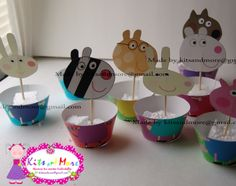 Peppa+pig+cupcake+wrappers+with+toppers+9+different+by+KitsandMore,+$6,00