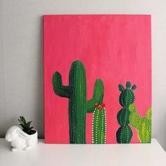 acrylic cactus painting   Available as prints and other products here: https://society6.com/product/pink-cactus-klh_print#s6-4263481p4a1v45