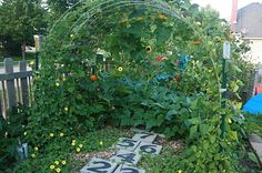 Love the idea of putting a large vine area that could act as a shelter.  And the hopscotch pavers are a great way to add some family friendly space.    squash trellis, sunflowers... cattle panel