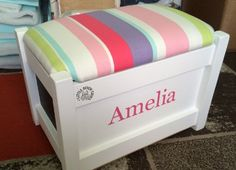 Toy Boxes for girls and boys this one in white, personalised in cheeky pink with #JohnLewis stripe fabric