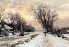Louis Apol - Sneeuwlandschap met boerderij aan vaart